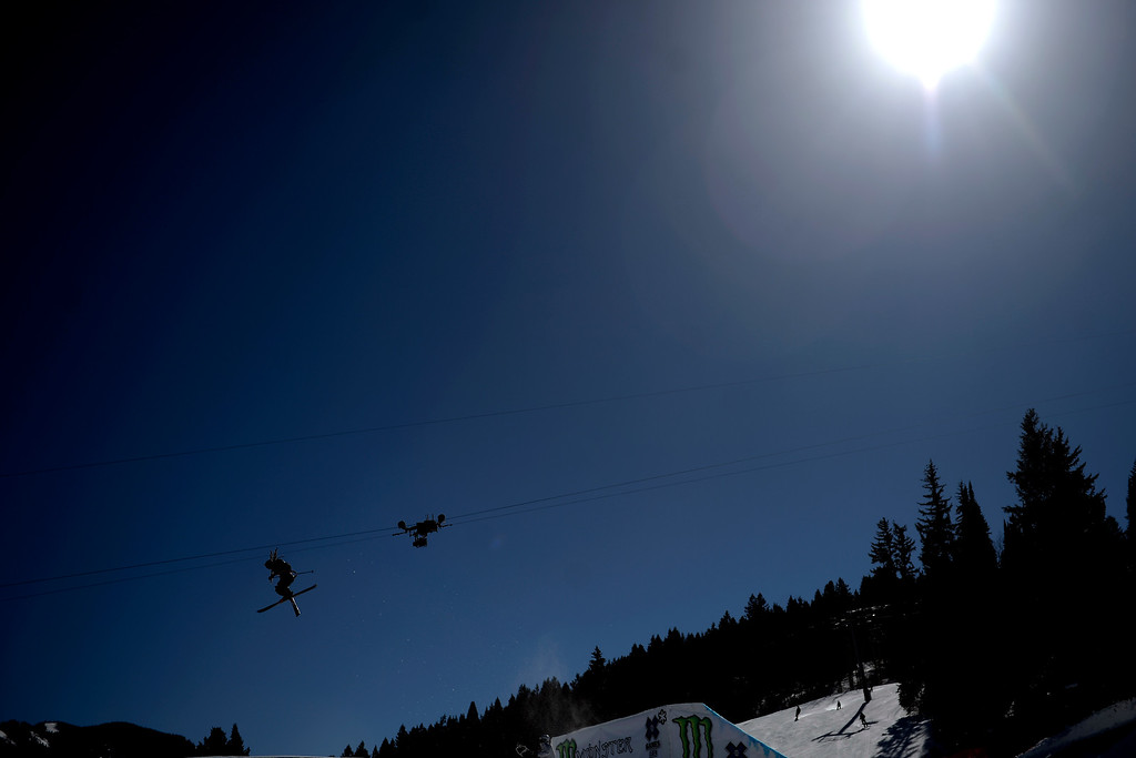 . Henrik Harlaut jumps during the men\'s ski slopestyle final. X Games Aspen at Buttermilk on Friday, January 25, 2014. (Photo by AAron Ontiveroz/The Denver Post)