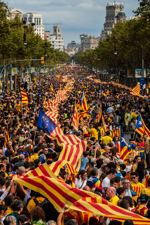 . BARCELONA, SPAIN - SEPTEMBER 11:  Demonstrators march during The National Day of Catalonia on September 11, 2013 in Barcelona, Spain. Thousands of Catalans celebrating the \'Diada Nacional\' are holding demostrations to demand the right to hold a self-determination referendum next year.  (Photo by David Ramos/Getty Images)