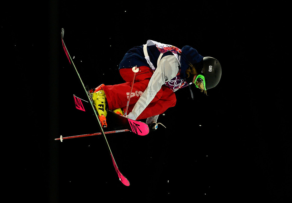 . US Brita Sigourney competes in the Women\'s Freestyle Skiing Halfpipe finals at the Rosa Khutor Extreme Park during the Sochi Winter Olympics on February 20, 2014.  AFP PHOTO / FRANCK FIFE/AFP/Getty Images