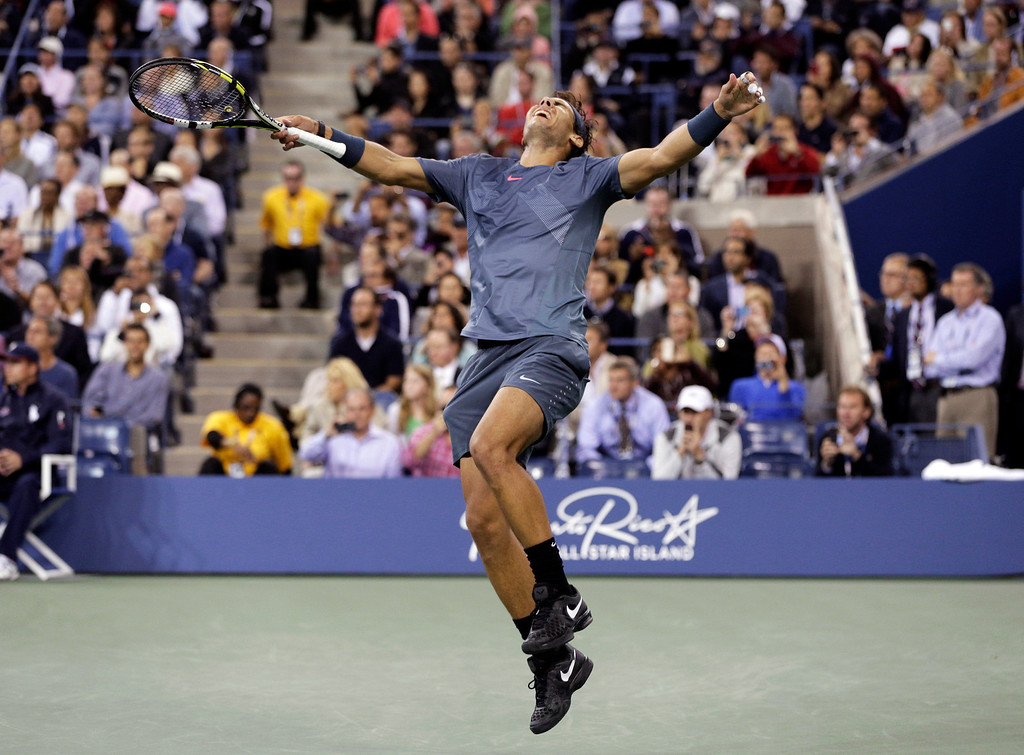 . Rafael Nadal, of Spain, reacts after defeating Novak Djokovic, of Serbia, during the men\'s singles final of the 2013 U.S. Open tennis tournament, Monday, Sept. 9, 2013, in New York. (AP Photo/Peter Morgan, File)
