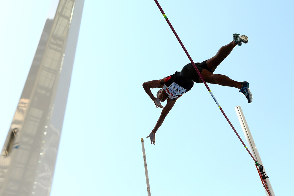 . Damian Warner of Canada competes in the Men\'s Decathlon Pole Vault during Day Two of the 14th IAAF World Athletics Championships Moscow 2013 at Luzhniki Stadium on August 11, 2013 in Moscow, Russia.  (Photo by Cameron Spencer/Getty Images)