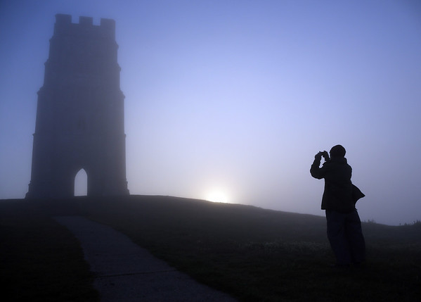 Photos: Sunrise at St. Michael's Tower in Somerset, England