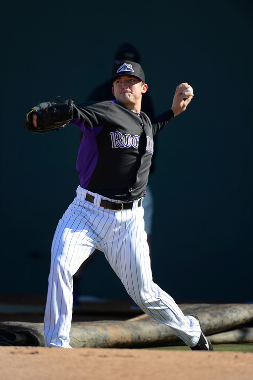 . SCOTTSDALE, AZ. - FEBRUARY 21: Rex Brothers (49) of the Colorado Rockies warms up during Spring Training February 21, 2013 in Scottsdale. (Photo By John Leyba/The Denver Post)