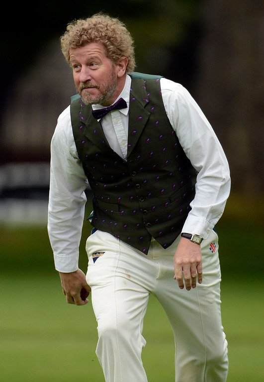 . Author Sebastian Faulks takes part in a Victorian Cricket match to commemorate the 150th anniversary of Wisden Cricketers\' Almanack at Vincent Square in London May 29, 2013. REUTERS/Philip Brown