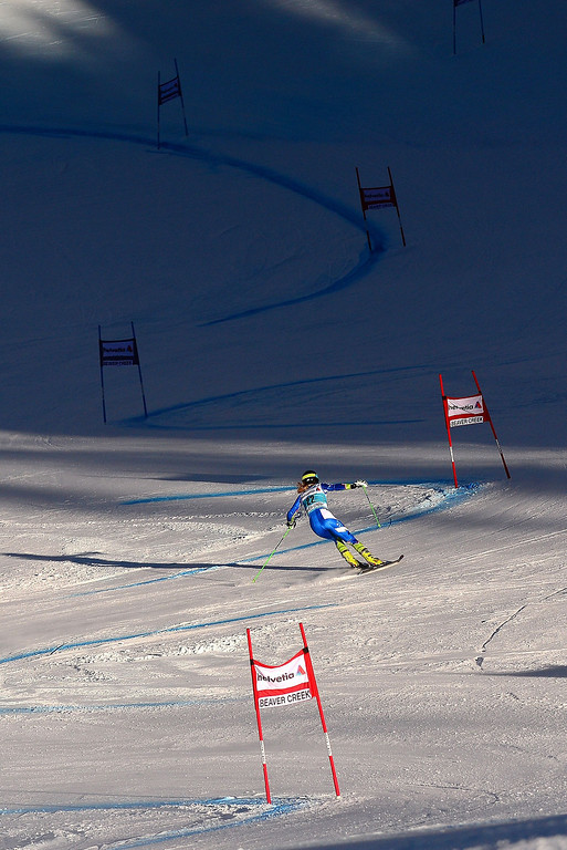 . Slovenia\'s Ana Drev powers her way in the first run of the women\'s giant slalom at the FIS Ski World Cup in Beaver Creek, Colorado, December 1, 2013. AFP PHOTO/Emmanuel DunandEMMANUEL DUNAND/AFP/Getty Images
