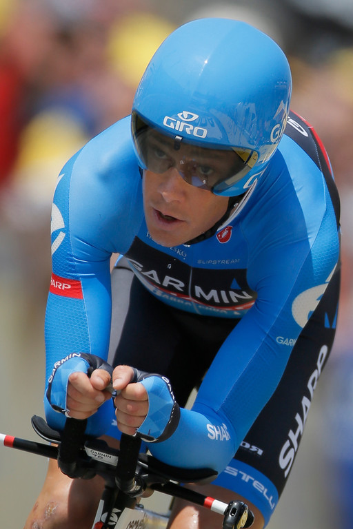 . Thomas Danielson of the U.S. rides during the eleventh stage of the Tour de France cycling race, an individual time trial over 33 kilometers (20.6 miles) with start in in Avranches and finish in Mont-Saint-Michel, western France, Wednesday July 10 2013. (AP Photo/Laurent Rebours)