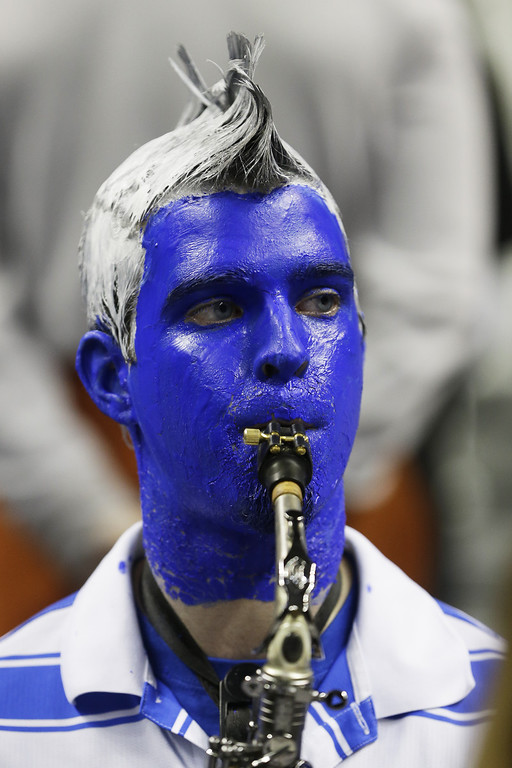 . A Saint Louis Billikens band member performs in the first half against the New Mexico State Aggies during the second round of the 2013 NCAA Men\'s Basketball Tournament at HP Pavilion on March 21, 2013 in San Jose, California.  (Photo by Ezra Shaw/Getty Images)