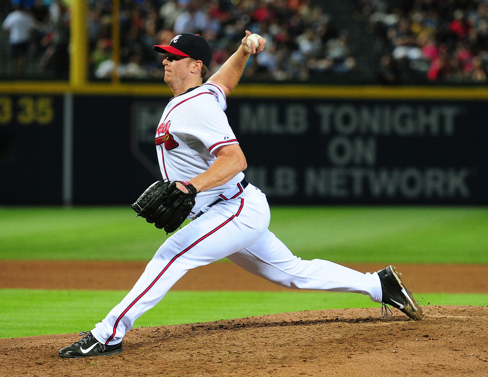 . ATLANTA, GA - MAY 23: Gavin Floyd #32 of the Atlanta Braves throws a 4th inning pitch against the Colorado Rockies at Turner Field on May 23, 2014 in Atlanta, Georgia. (Photo by Scott Cunningham/Getty Images)