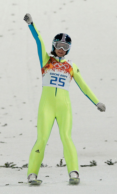 . Slovenia\'s Maja Vtic reacts after her second attempt during the women\'s normal hill ski jumping final at the 2014 Winter Olympics, Tuesday, Feb. 11, 2014, in Krasnaya Polyana, Russia. (AP Photo/Matthias Schrader)