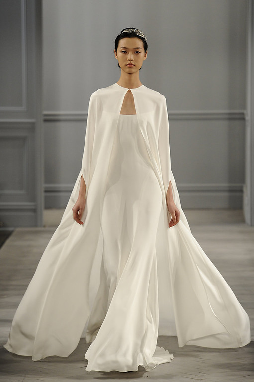 . A model walks the runway during the Monique Lhuillier Bride 2014 Bridal Spring/Summer collection show on April 20, 2013 in New York City.  (Photo by Fernanda Calfat/Getty Images)