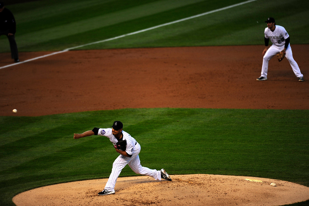 . DENVER, CO. - SEPT 20, 2013:   Jhoulys Chacin throws a pitch early in the game. Chacin hit his first home run of his career today, becoming the 23rd Rockies pitcher to do so.   (Photo By Erin Hull/The Denver Post)