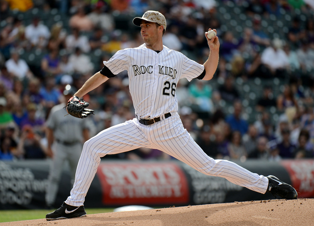 . Denver, CO. - June 08: Jeff Francis of Colorado Rockies (26) pitched 4 innings against San Diego Padres at Coors Field. Denver, Colorado. June 8, 2013.  (Photo By Hyoung Chang/The Denver Post)