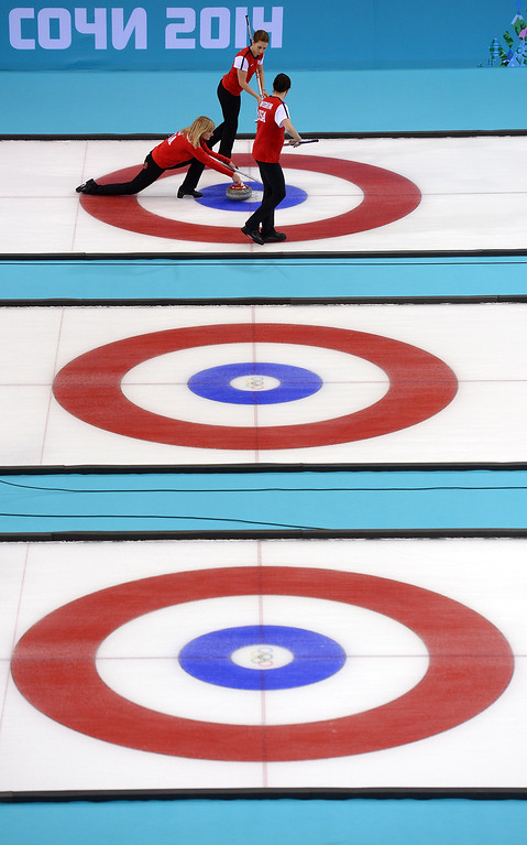 . Erika Brown of the U.S. releases the stone during Curling Women\'s Round Robin match between USA and Canada on day nine of the Sochi 2014 Winter Olympics at Ice Cube Curling Center on February 16, 2014 in Sochi, .  (Photo by Lars Baron/Getty Images)