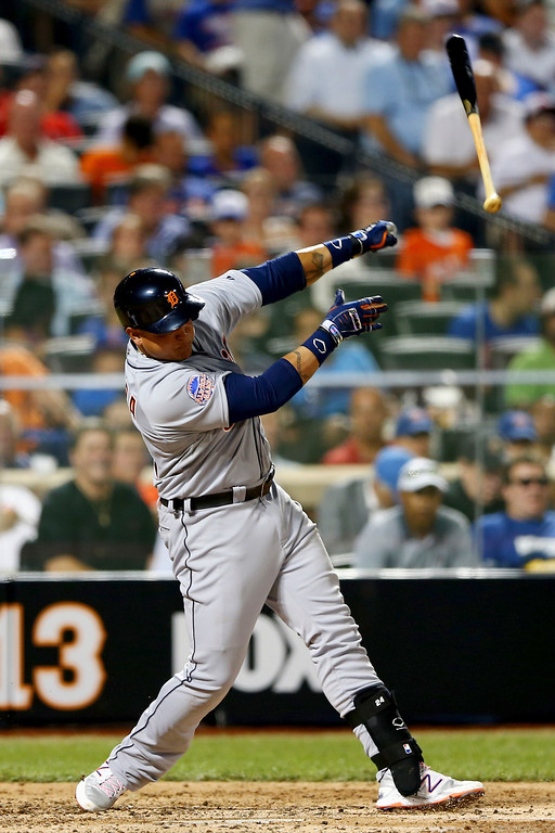 . American League All-Star Miguel Cabrera #24 of the Detroit Tigers lets go of his bat in the fourth inning during the 84th MLB All-Star Game on July 16, 2013 at Citi Field in the Flushing neighborhood of the Queens borough of New York City.  (Photo by Elsa/Getty Images)