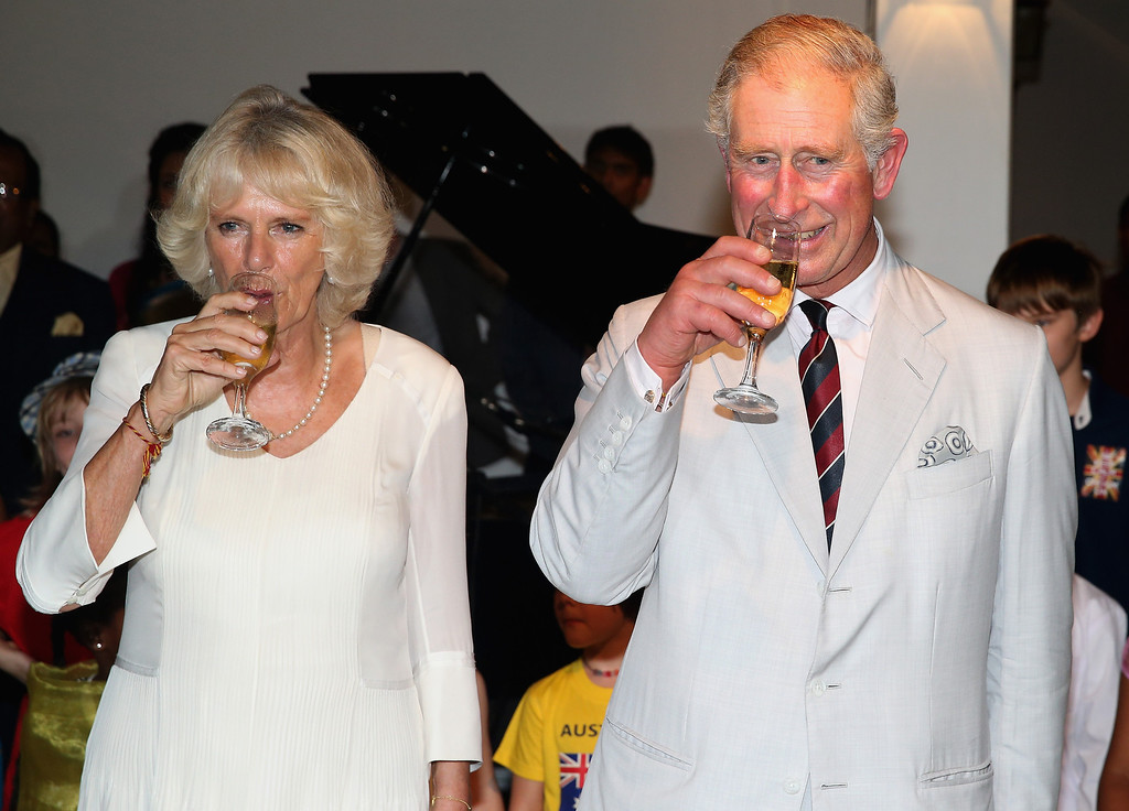 . Prince Charles, Prince of Wales toasts guests after cutting his 65th Birthday cake as Camilla, Duchess of Cornwall looks on during a reception at the British High Commission on November 14, 2013 in Colombo, Sri Lanka. The Royal couple are visiting Sri Lanka in order to attend the 2013 Commonwealth Heads of Government Meeting.  (Photo by Chris Jackson/Getty Images)