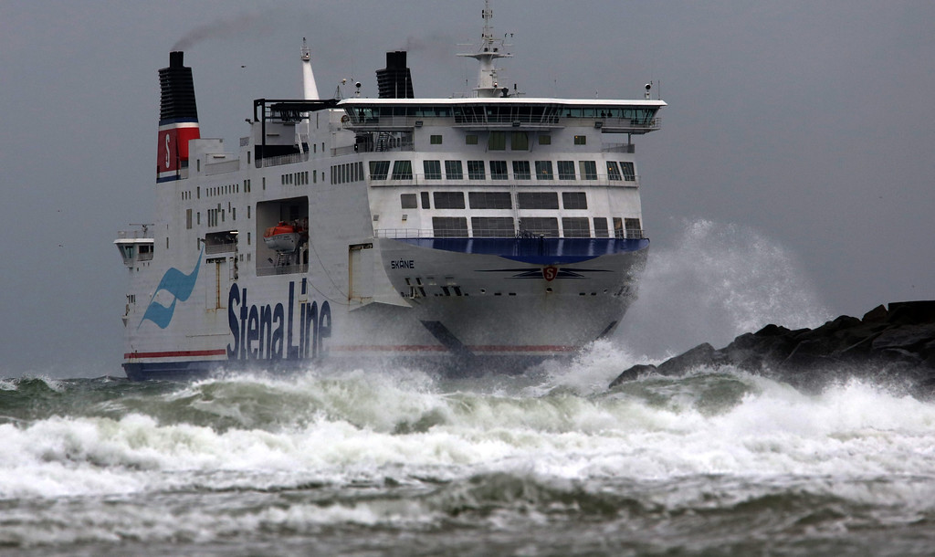 . A Scandinavian Ferry from Trelleborg heads into the port of Rostock-Warnemuende, Germany, 05 December 2013. Storm front Xaver has already reached the coast of Germany.  EPA/BERND WUESTNECK