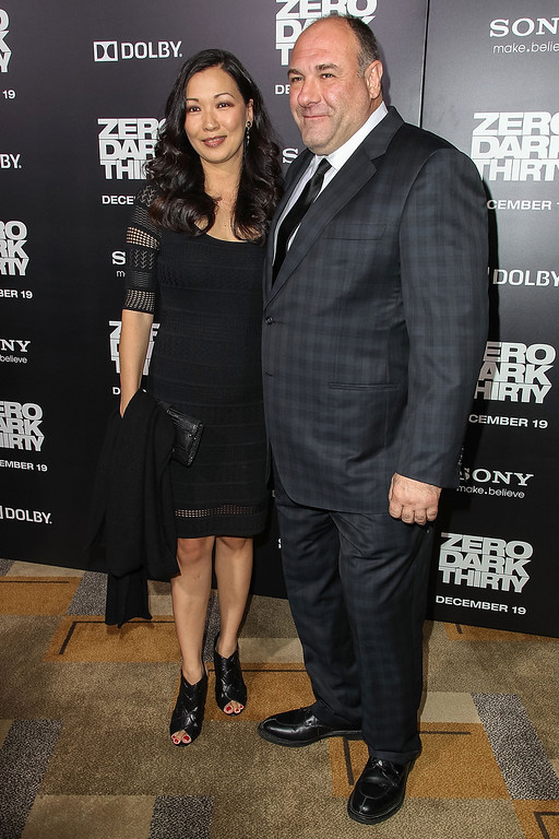 """. Actor James Gandolfini and wife Deborah Lin arrives at the premiere of Columbia Pictures\' \""""Zero Dark Thirty\"""" held at the Dolby Theatre on December 10, 2012 in Hollywood, California.  (Photo by Paul A. Hebert/Getty Images)"""