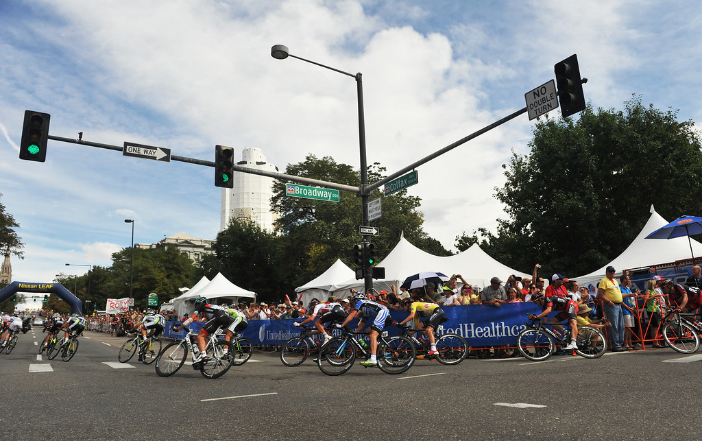 . Cyclists are in action at downtown Denver during the 75-mile 7th stage of the 2013 USA Pro Challenge race in Denver, Colorado on August 25, 2013. (Photo by Hyoung Chang/The Denver Post)