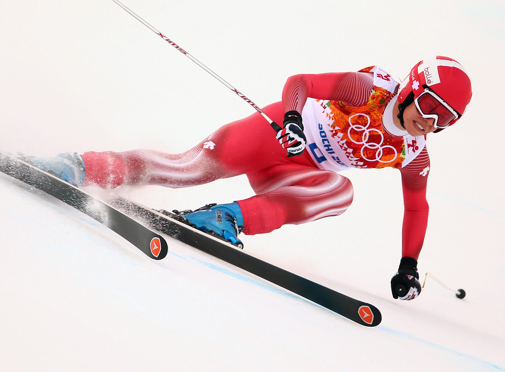 . Dominique Gisin of Switzerland in action during the Downhill portion of the Women\'s Super Combined race at the Rosa Khutor Alpine Center during the Sochi 2014 Olympic Games, Krasnaya Polyana, Russia, 10 February 2014.  EPA/MICHAEL KAPPELER