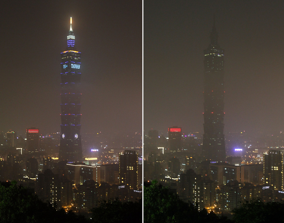 . These combo photos show the Taipei 101 Building before, left, and after, right, turning off its lights to mark the Earth Hour in Taipei, Taiwan, Saturday, March 23, 2013. Organised by the World Wide Fund for Nature, earth hour is observed every year to create awareness about conservation of energy and climate change. Around the world, people and organisations will be turning their lights off from 8:30 to 9:30 pm local time. (AP Photo/Chiang Ying-ying)