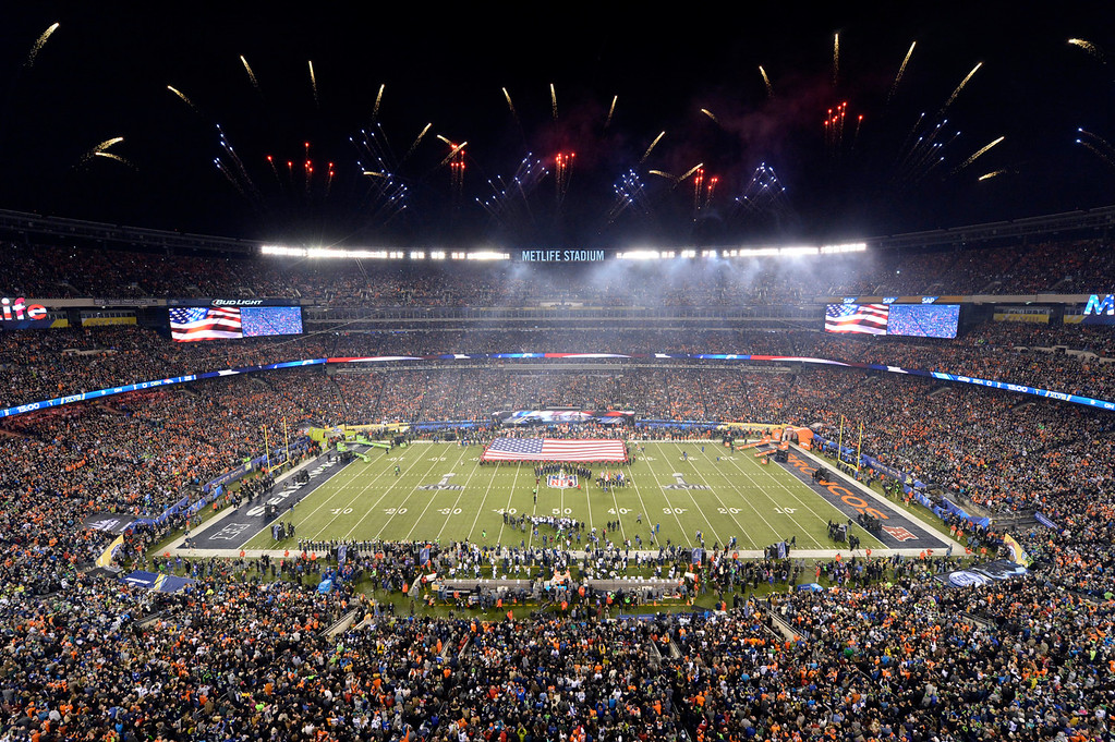 . Renée Fleming sings the National Anthem.  The Denver Broncos vs the Seattle Seahawks in Super Bowl XLVIII at MetLife Stadium in East Rutherford, New Jersey Sunday, February 2, 2014. (Photo by Craig F. Walker/The Denver Post)