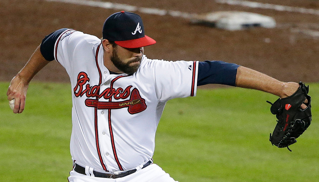 . Atlanta Braves relief pitcher Luis Ayala works against the Los Angeles Dodgers in the fifth inning of Game 1 of the National League Divisional Series, Thursday, Oct. 3, 2013, in Atlanta. (AP Photo/David Goldman)