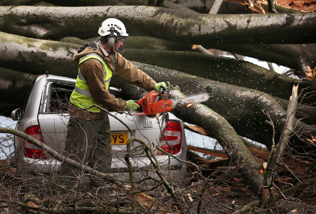 . A worker with a chain saw cuts branches after a tree landed on a car in Davidsons Mains, Edinburgh Scotland, 05 December 2013.    EPA/DAVID CHESKIN