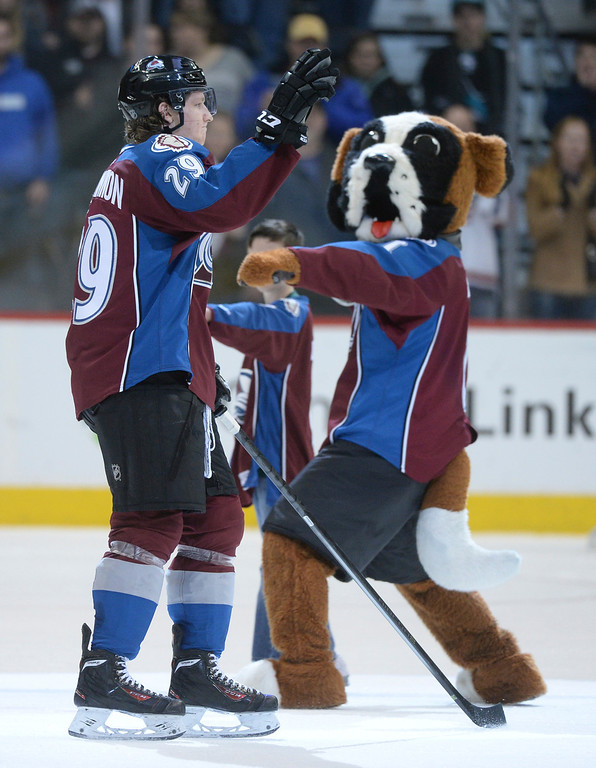 . DENVER, CO. - JANUARY 04: Avs center Nathan MacKinnon was selected as the number one star of the game. The Colorado Avalanche defeated the San Jose Sharks 4-3 at the Pepsi Center Saturday afternoon, January 4, 2014. Photo By Karl Gehring/The Denver Post