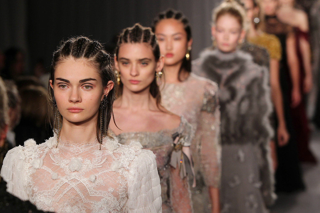 . This image released by Starpix shows the Marchesa Fall 2014 collection during Fashion Week in New York, Wednesday, Feb. 12, 2014. (AP Photo/Starpix, Amanda Schwab)