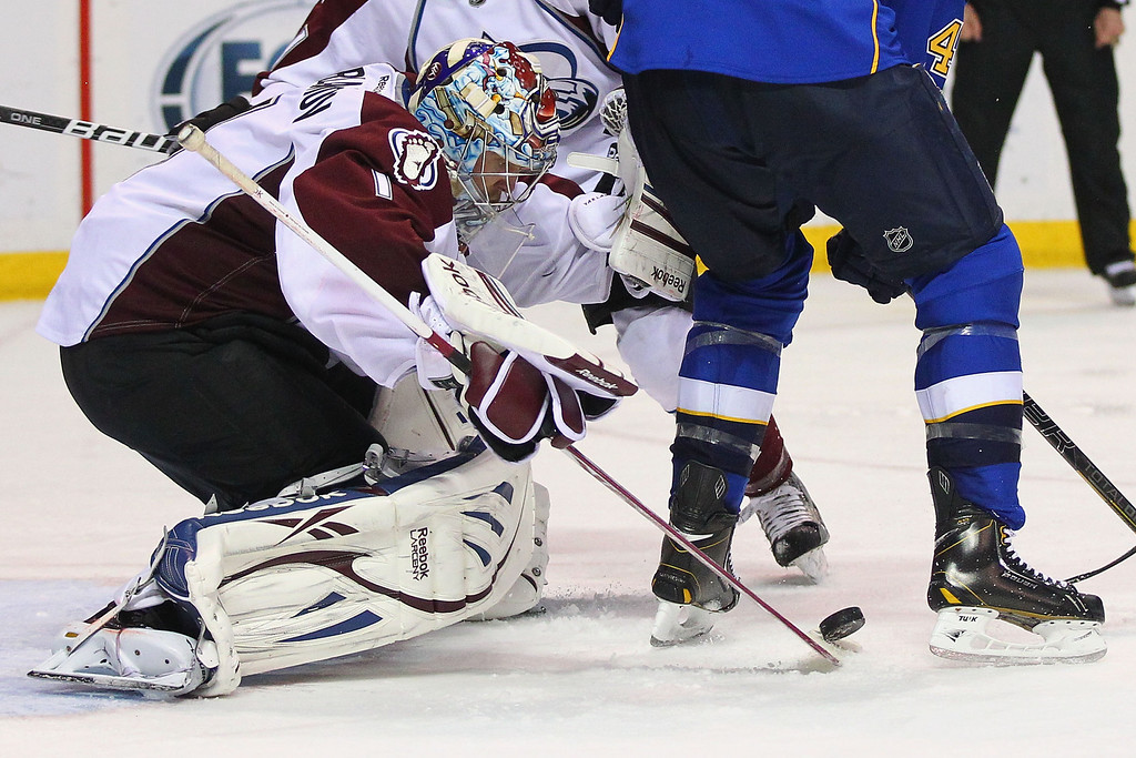 . ST. LOUIS, MO - APRIL 23: Semyon Varlamov #1 of the Colorado Avalanche makes a save against the St. Louis Blues during the third period at the Scottrade Center on April 23, 2013 in St. Louis, Missouri.  The Blues beat the Avalanche 3-1 to clinch a play-off birth.  (Photo by Dilip Vishwanat/Getty Images)