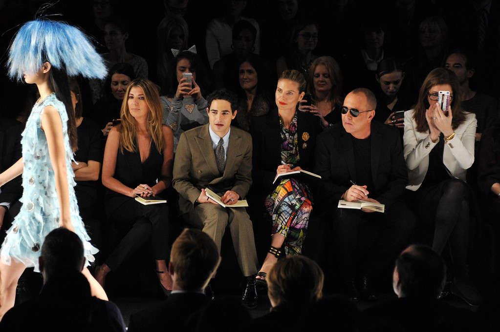 . NEW YORK, NY - FEBRUARY 08:  (L-R) Creative director Nina Garcia, designer Zac Posen, model Heidi Klum and designer Michael Kors attend the Project Runway Fall 2013 fashion show during Mercedes-Benz Fashion Week at The Theatre at Lincoln Center on February 8, 2013 in New York City.  (Photo by Mike Coppola/Getty Images for Mercedes-Benz Fashion Week)