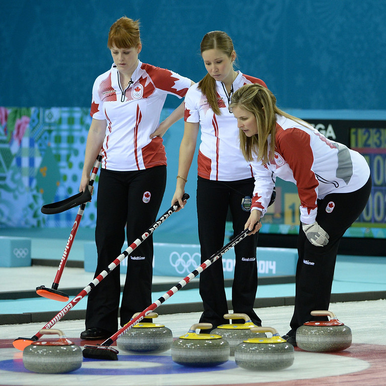 . Canada\'s Jennifer Jones (R) Kaitlyn Lawes and Dawn McEwen watch the stone during the Women\'s Curling Gold Medal Game Sweden vs Canada at the Ice Cube Curling Center during the Sochi Winter Olympics on February 20, 2014.  JUNG YEON-JE/AFP/Getty Images