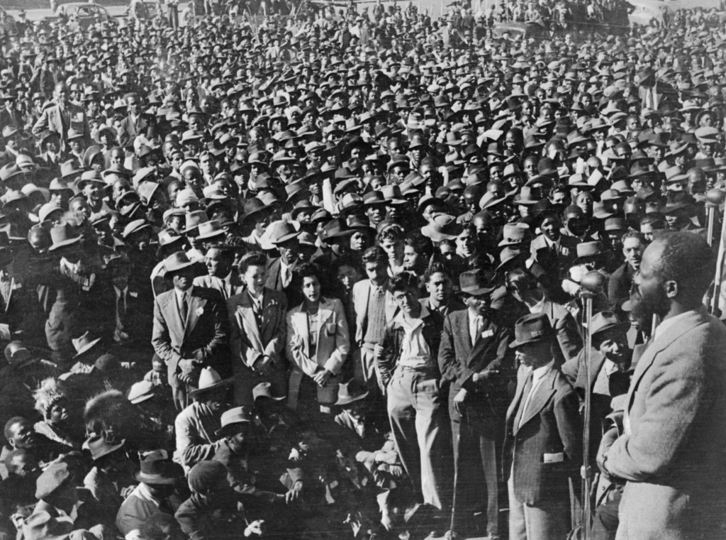 . A photo taken in South Africa in the 1950s shows supporters of the African National Congress (ANC) gathering as part of a civil disobedience campaign to protest the apartheid regime of racial segregation. (Photo credit should read AFP/Getty Images)