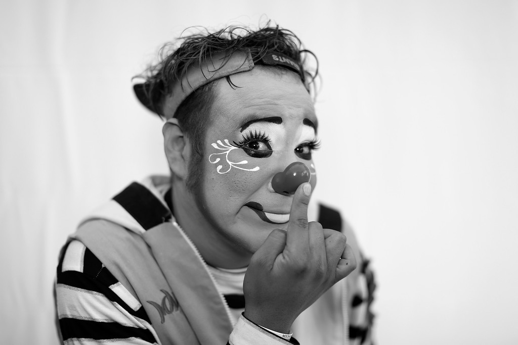 . In this Monday, Oct. 21, 2013 photo, Mexican clown Chuponcito ZigZag poses for a portrait at the 17th International Clown Convention in Mexico City. The main objective of this convention is to professionalize those involved in the clown arts in Latin America and highlight the need  for a professional school of Clown Arts in Mexico. (AP Photo/Dario Lopez-Mills)