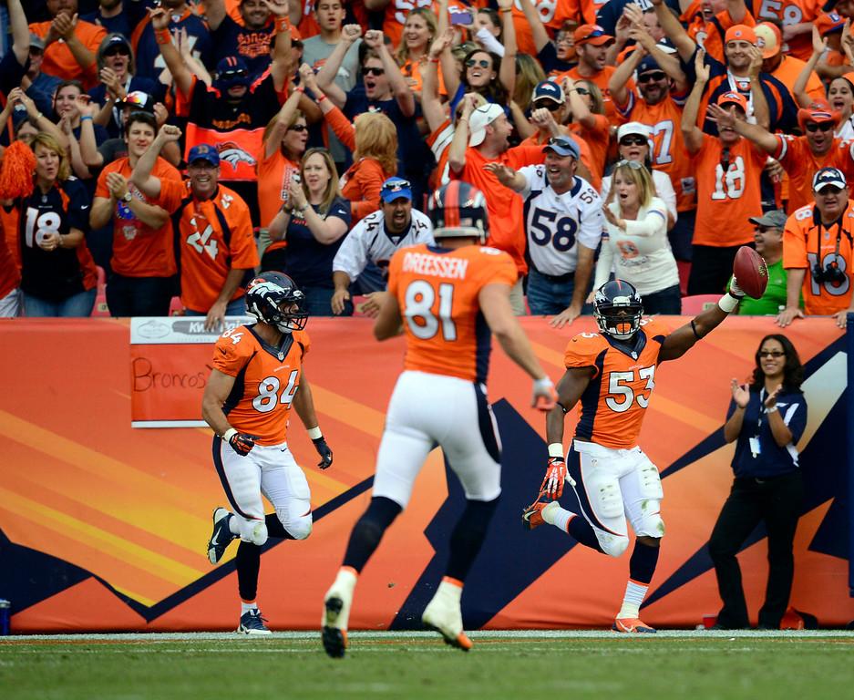 . DENVER, CO - SEPTEMBER 29: Denver Broncos linebacker Steven Johnson (53) blocked an Philadelphia Eagles punt and returned it for a touchdown in the third quarter September 29, 2013 at Sports Authority Field at Mile High. (Photo by AAron Ontiveroz/The Denver Post)