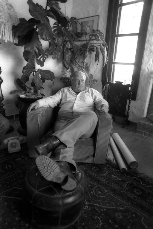 . A photograph supplied by the Israeli Government Press Office (GPO) on 05 January 2014 shows Israeli then Minister of Agriculture Ariel Sharon lolling in an easy chair in his home in Shikmim, south of Israel, 20 February 1979.   EPA/YOSSI ROTH/ GPO
