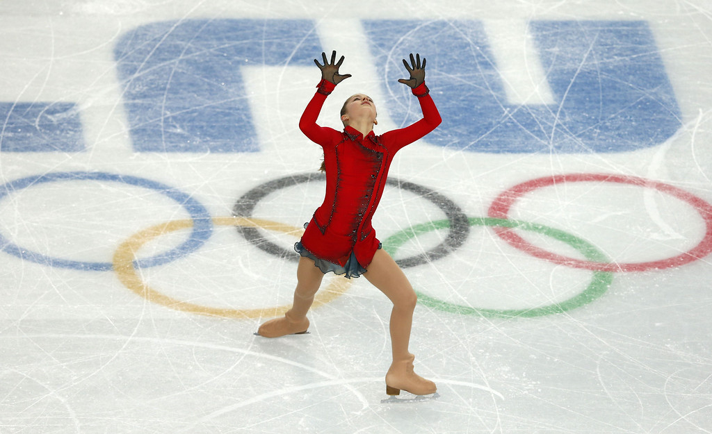 . Russia\'s Julia Lipnitskaia performs in the Women\'s Figure Skating Free Program at the Iceberg Skating Palace during the Sochi Winter Olympics on February 20, 2014.  ADRIAN DENNIS/AFP/Getty Images