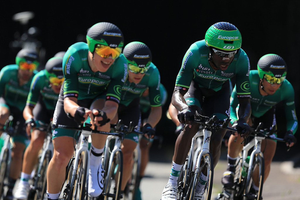. Team Europcar in action during stage four of the 2013 Tour de France, a 25KM Team Time Trial on July 2, 2013 in Nice, France.  (Photo by Doug Pensinger/Getty Images)
