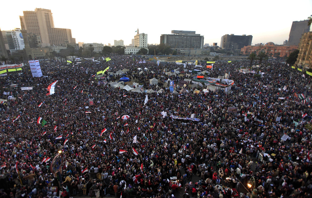 . Thousands of Egyptian protesters gather in Tahrir Square, Cairo, Egypt, Friday, Jan. 25, 2013. Two years after Egypt\'s revolution began, the country\'s schism was on display Friday as the mainly liberal and secular opposition held rallies saying the goals of the pro-democracy uprising have not been met and denouncing Islamist President Mohammed Morsi. With the anniversary, Egypt is definitively in the new phase of its upheaval. (AP Photo/Khalil Hamra)