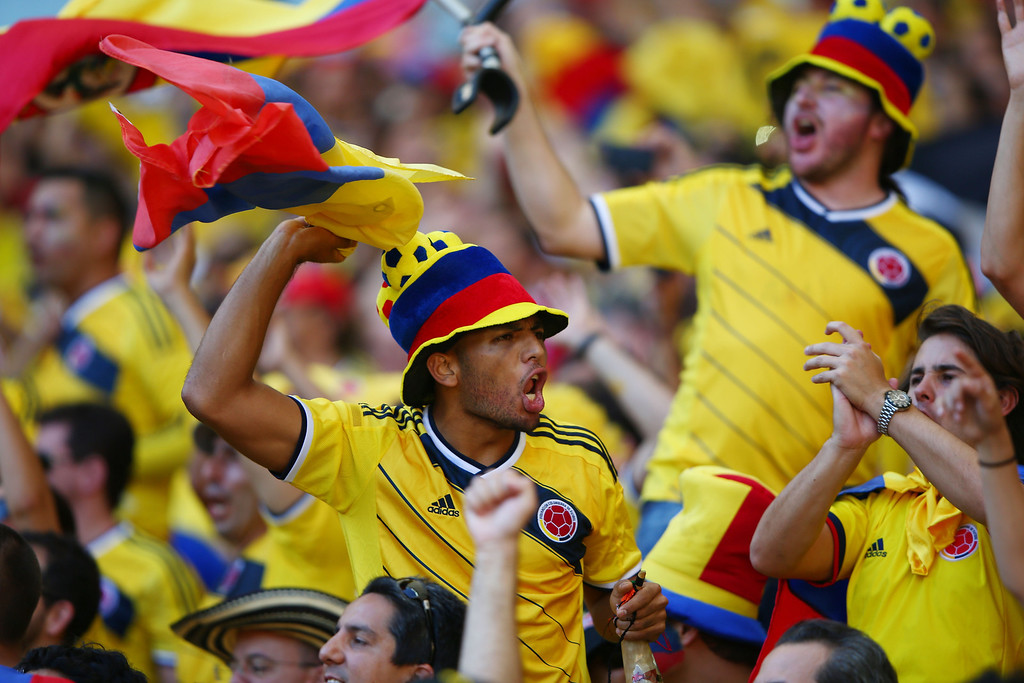 . Colombia fans celebrate late in the match during the 2014 FIFA World Cup Brazil Group C match between Colombia and Greece at Estadio Mineirao on June 14, 2014 in Belo Horizonte, Brazil.  (Photo by Ian Walton/Getty Images)