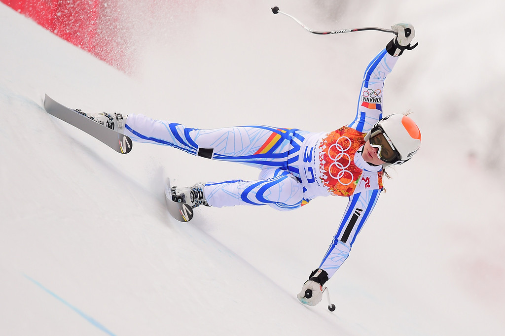 . Romania\'s Ania Monica Caill competes during the Women\'s Alpine Skiing Super Combined Downhill at the Rosa Khutor Alpine Center during the Sochi Winter Olympics on February 10, 2014.          AFP PHOTO / FABRICE COFFRINI/AFP/Getty Images