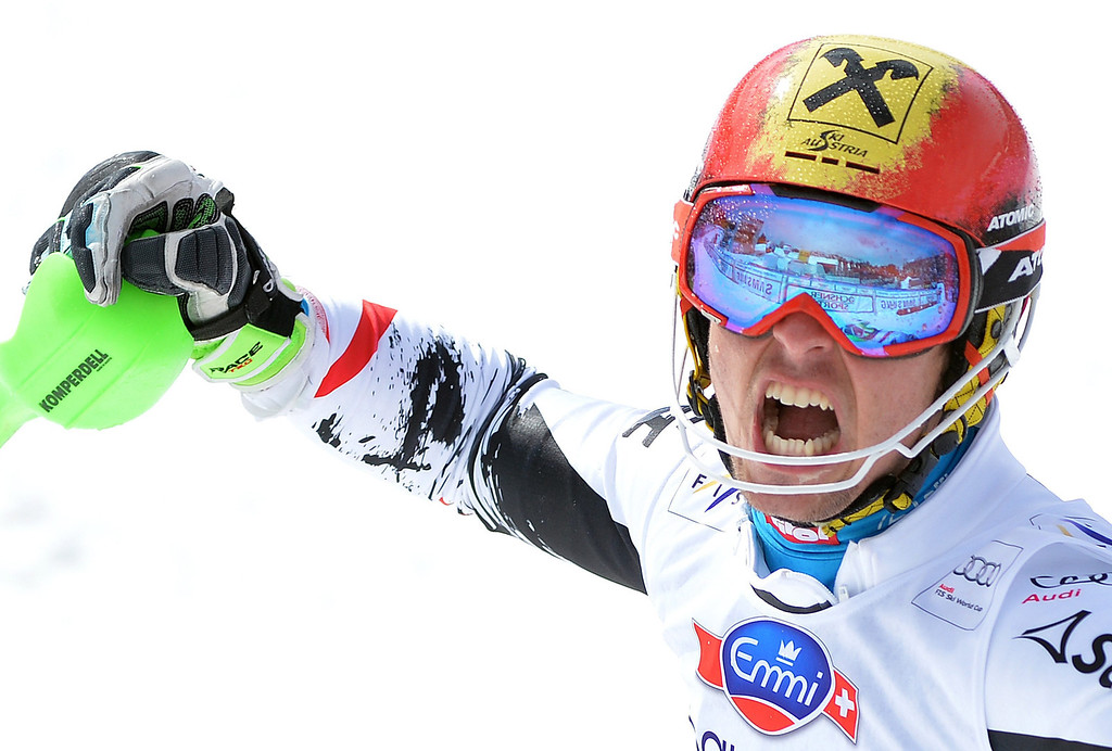. Austria\'s Marcel Hirscher reacts in the finish area after winning the men\'s slalom race at the FIS Alpine Skiing World Cup finals in Parpan-Lenzerheide, Switzerland, 16 March 2014.  EPA/BARBARA GINDL