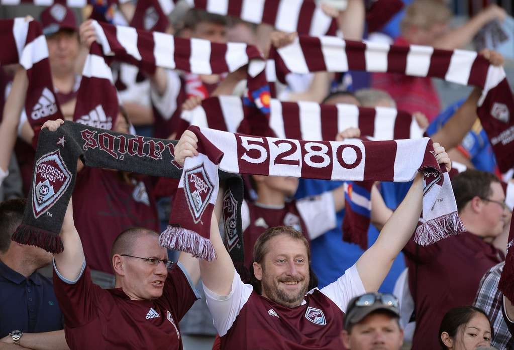 . COMMERCE CITY, CO - JUNE 28: Colorado fans welcomed the team to the field before the game Saturday night. The Colorado Rapids defeated the Vancouver Whitecaps 2-0 at Dick\'s Sporting Goods Park Saturday night, June 28, 2014.  Photo by Karl Gehring/The Denver Post