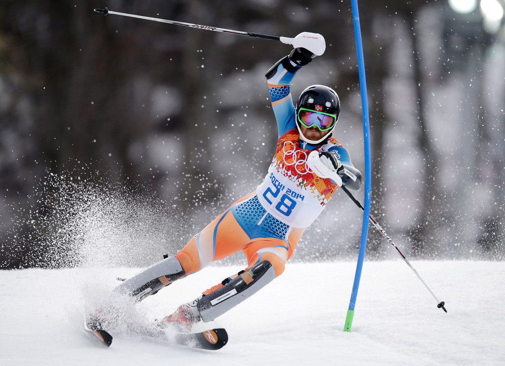 . Norway\'s Leif Kristian Haugen skis during the first run of the men\'s slalom at the Sochi 2014 Winter Olympics, Saturday, Feb. 22, 2014, in Krasnaya Polyana, Russia. (AP Photo/Charles Krupa)