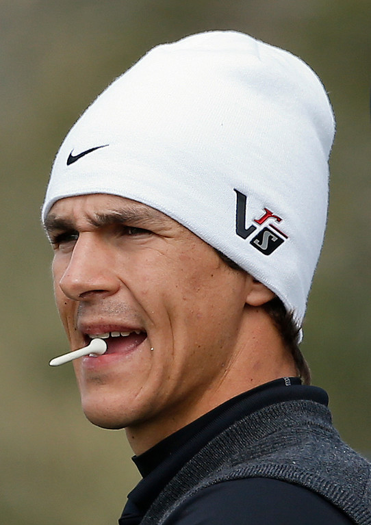 . Thorbjorn Olesen, of Denmark, waits to tee off the 11th hole in the first round against Jamie Donaldson, of Wales, during the Match Play Championship golf tournament, Thursday, Feb. 21, 2013, in Marana, Ariz. Oleson won 3 and 2. (AP Photo/Ross D. Franklin)