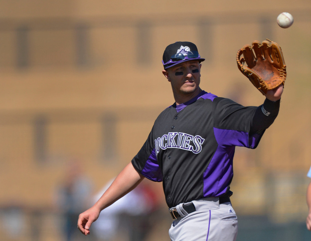 . SCOTTSDALE, AZ. - FEBRUARY 23: Troy Tulowitzki (2) of the Colorado Rockies in his first game against the Arizona Diamondbacks in the  February 23, 2013 in Scottsdale. This is his first game since May 30th. (Photo By John Leyba/The Denver Post)