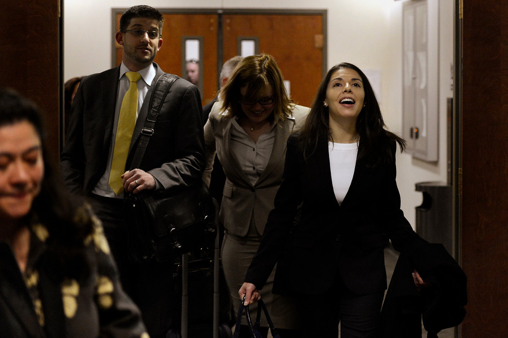 . CENTENNIAL, CO. - APRIL 10: Fox News reporter Jana Winter (on right) arrives at her hearing for protecting her sources in a story connected to mass murderer James Holmes at the Arapahoe County Justice Center April 10, 2013 Centennial, Colorado. (Photo By Joe Amon/The Denver Post)