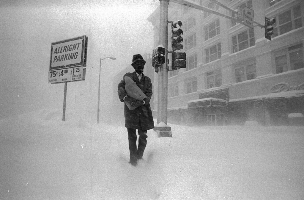. A man makes his way through the snow during the Blizzard Of \'82. Denver Post Library Archive