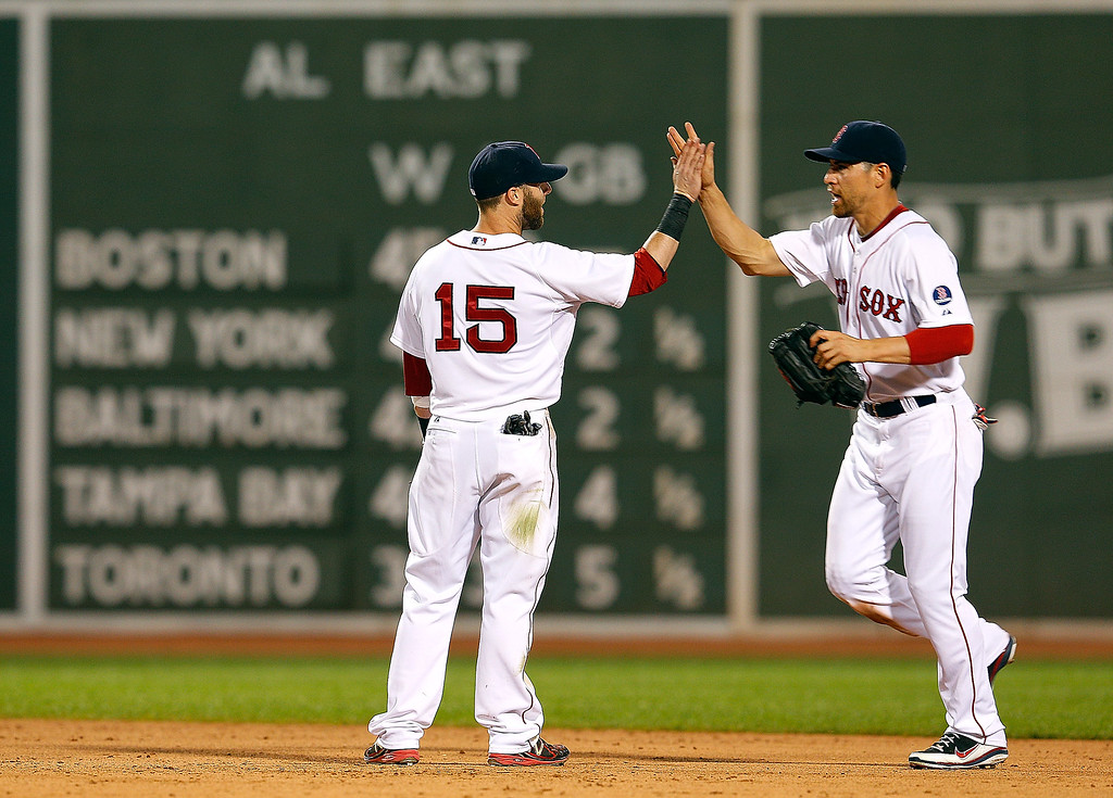 . Dustin Pedroia #15 of the Boston Red Sox celebrates a 11-4 win over the Colorado Rockies with teammate Jacoby Ellsbury #2 of the Boston Red Sox at Fenway Park on June 25, 2013 in Boston, Massachusetts.  Pedroia knocked in four runs and Ellsbury scored three. (Photo by Jim Rogash/Getty Images)