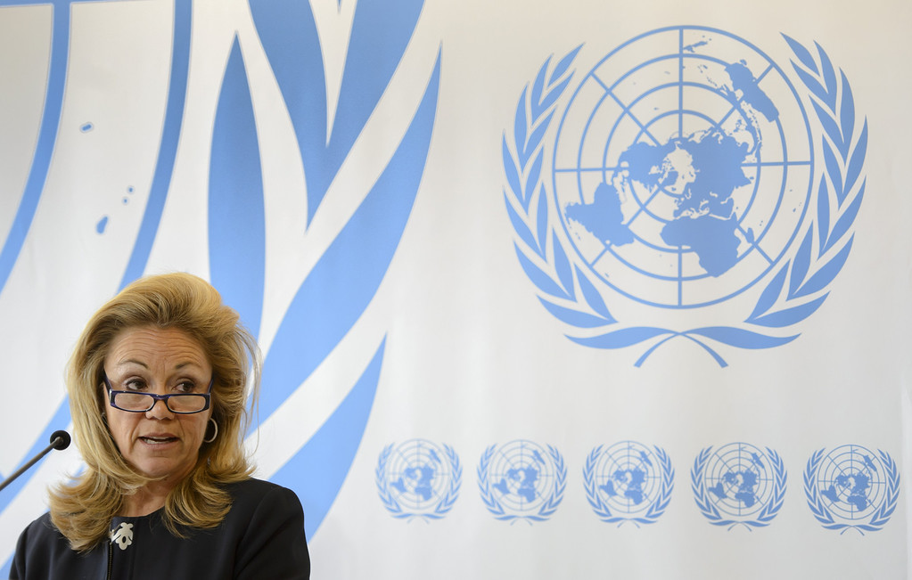 . United States representative to the United Nations Human Rights Council Eileen Chamberlain Donahoe delivers a statement on May 29, 2013 before an urgent debate on Syria at the UN council in Geneva. The council is to consider a resolution condemning the Syrian regime\'s use of foreign fighters in Qusayr. FABRICE COFFRINI/AFP/Getty Images